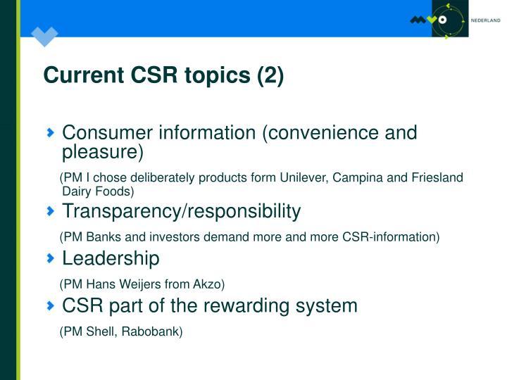Current CSR topics (2)