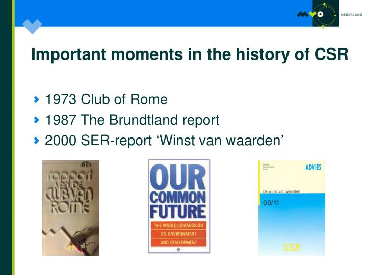 Important moments in the history of CSR