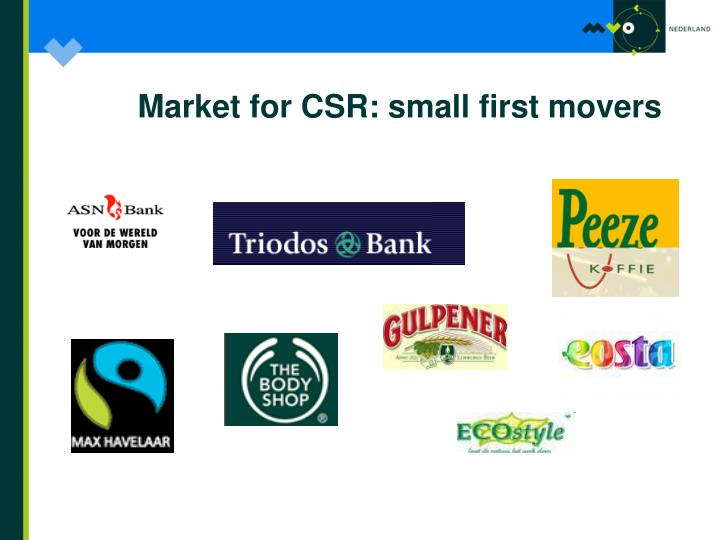 Market for CSR: small first movers