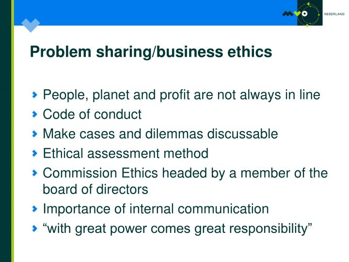 Problem sharing/business ethics