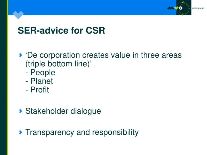 SER-advice for CSR