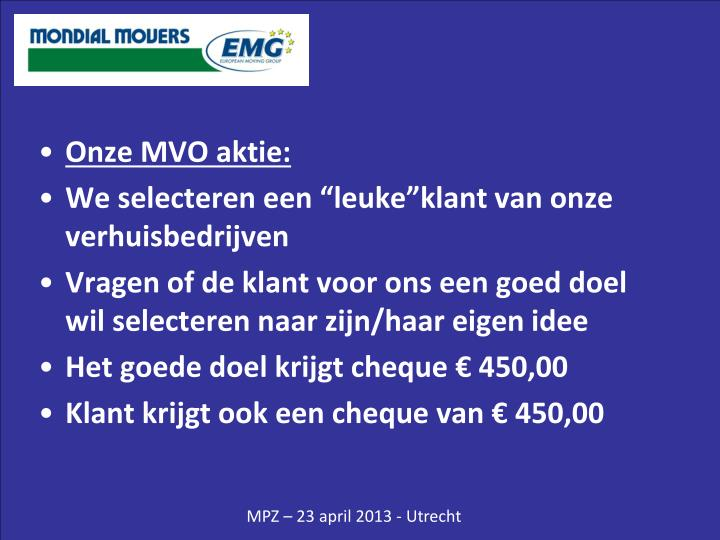 Onze MVO aktie: