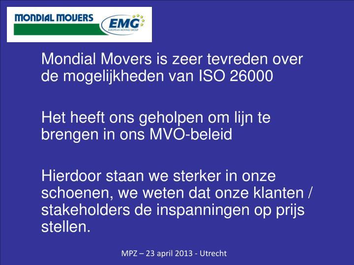 Mondial Movers is zeer tevreden over de mogelijkheden van ISO 26000