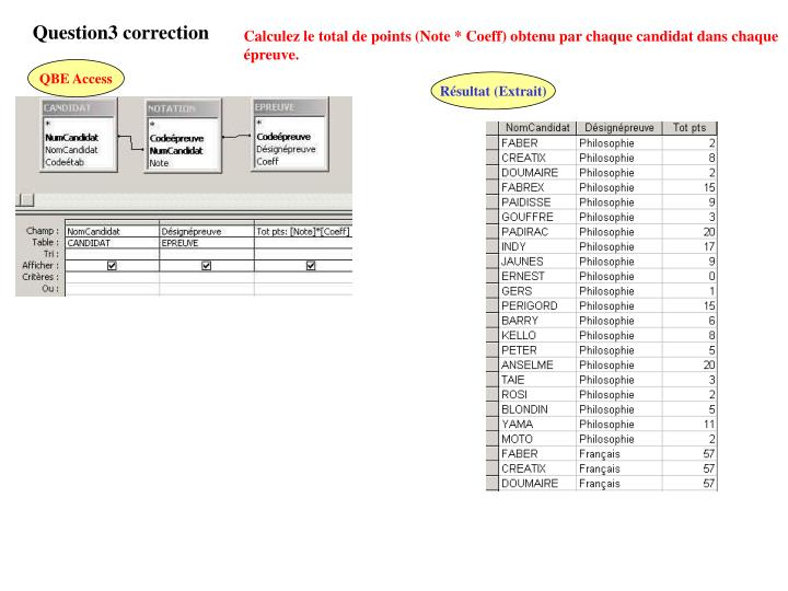 Question3 correction