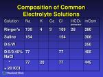 composition of common electrolyte solutions