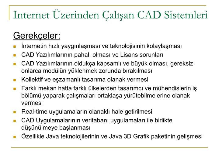 Internet Üzerinden Çalışan CAD Sistemleri