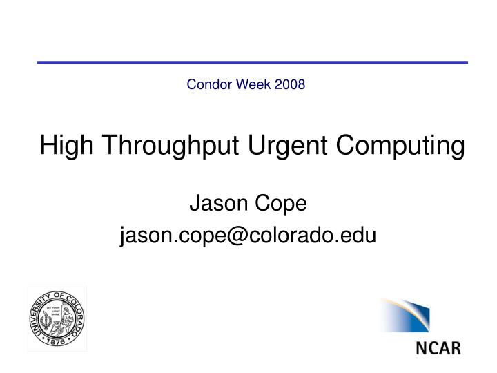 high throughput urgent computing n.