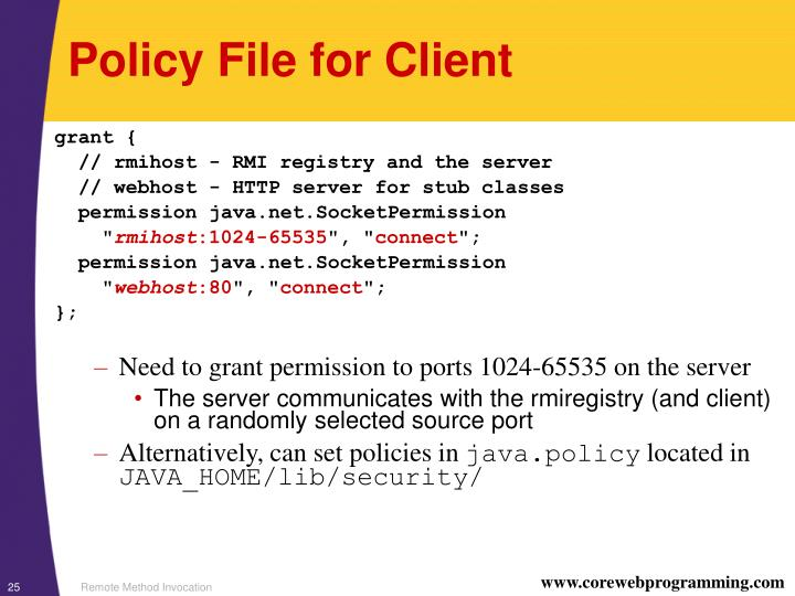 Policy File for Client