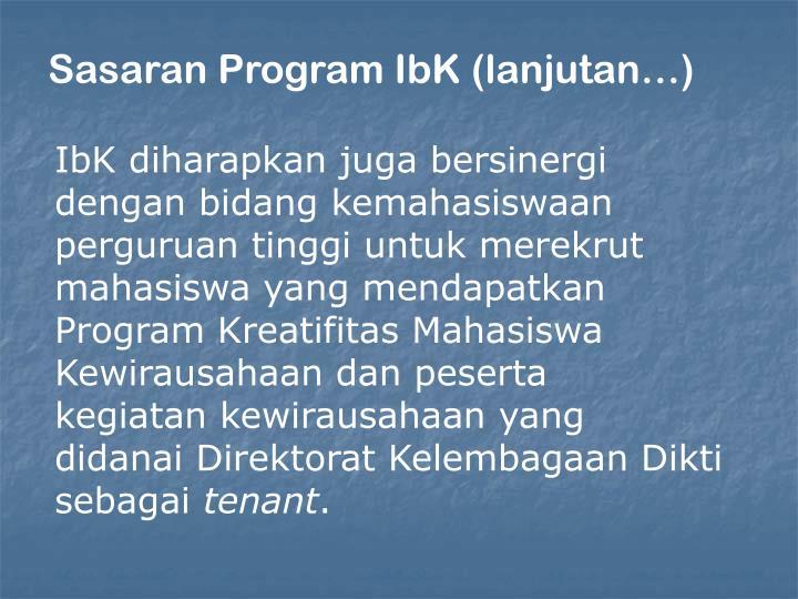 Sasaran Program IbK (lanjutan…)