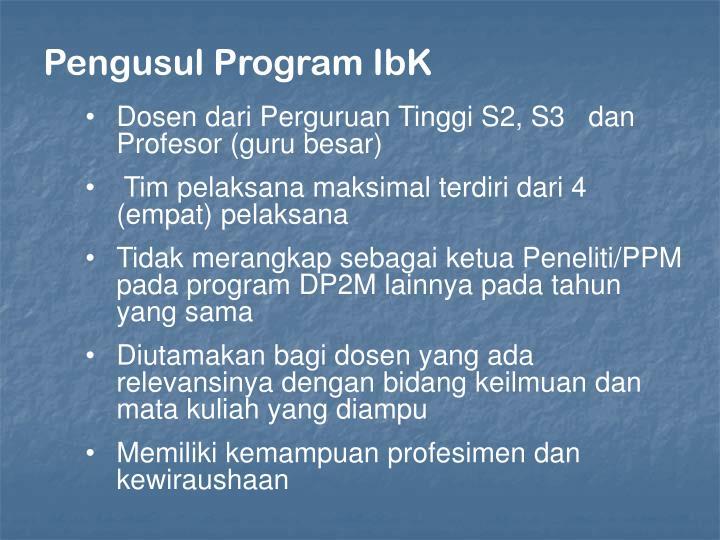 Pengusul Program IbK