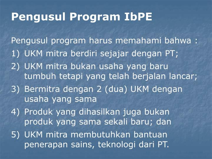 Pengusul Program IbPE
