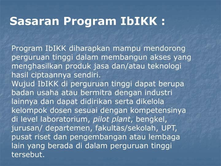 Sasaran Program IbIKK :