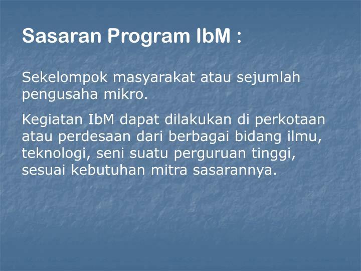 Sasaran Program IbM :