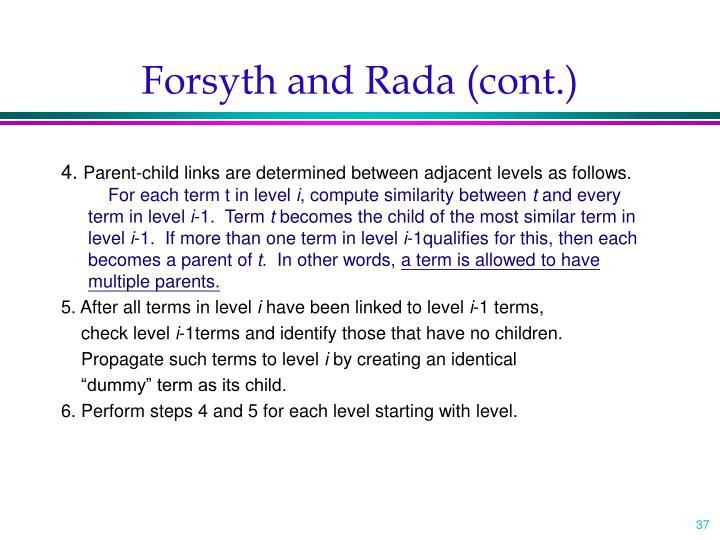 Forsyth and Rada (cont.)
