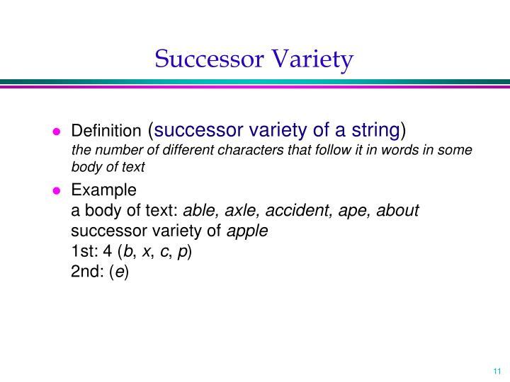 Successor Variety