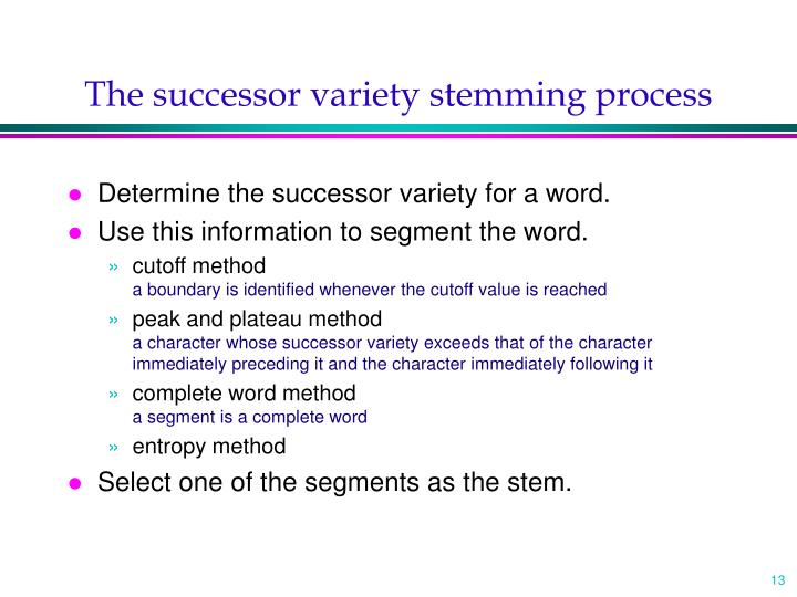The successor variety stemming process