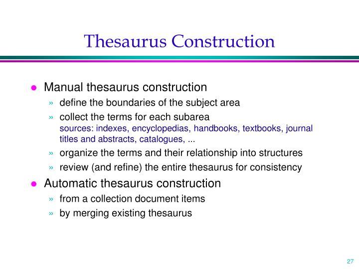 Thesaurus Construction