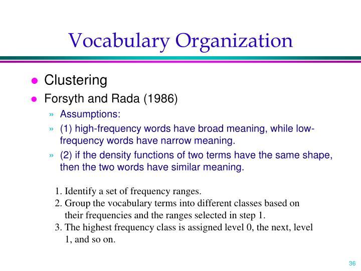 Vocabulary Organization