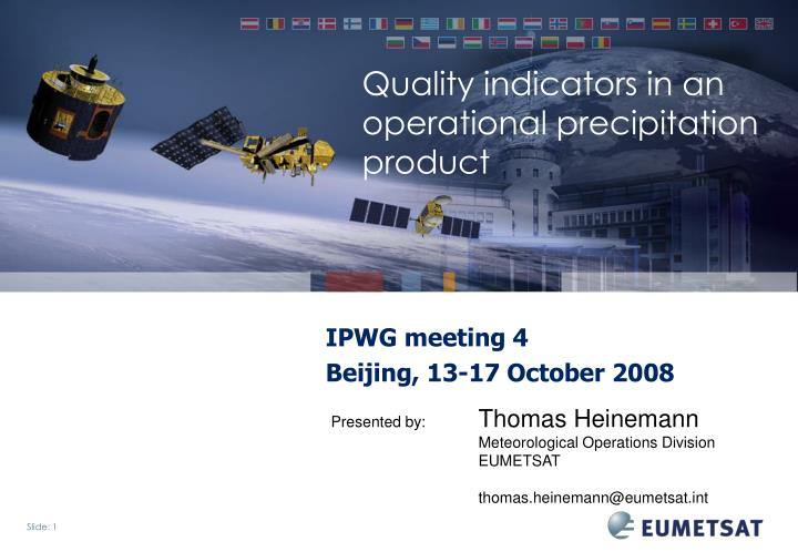 quality indicators in an operational precipitation product n.