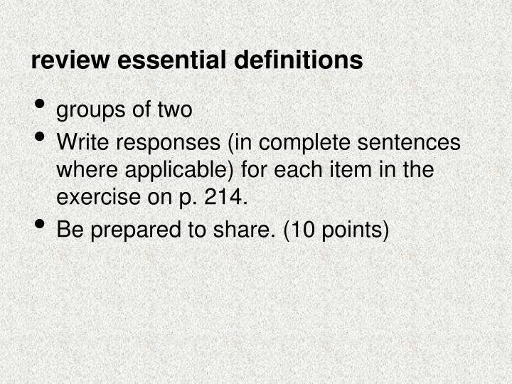 review essential definitions