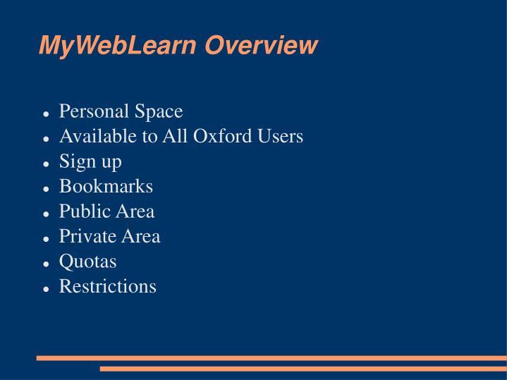 Myweblearn overview