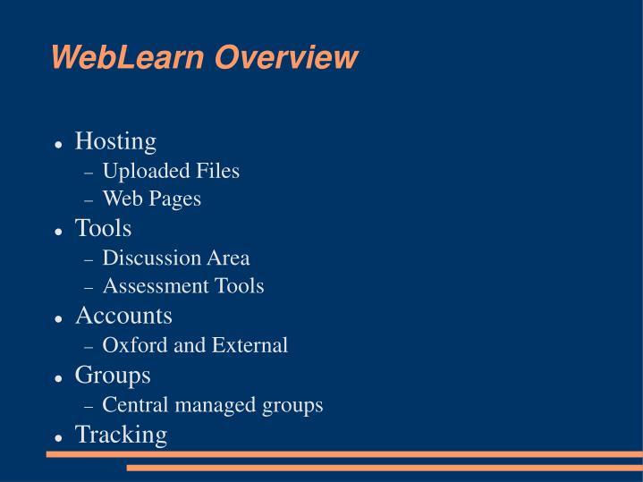 Weblearn overview