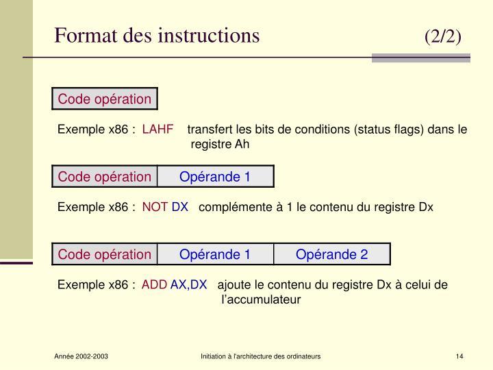 Format des instructions