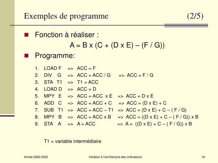 Exemples de programme                                     (2/5)