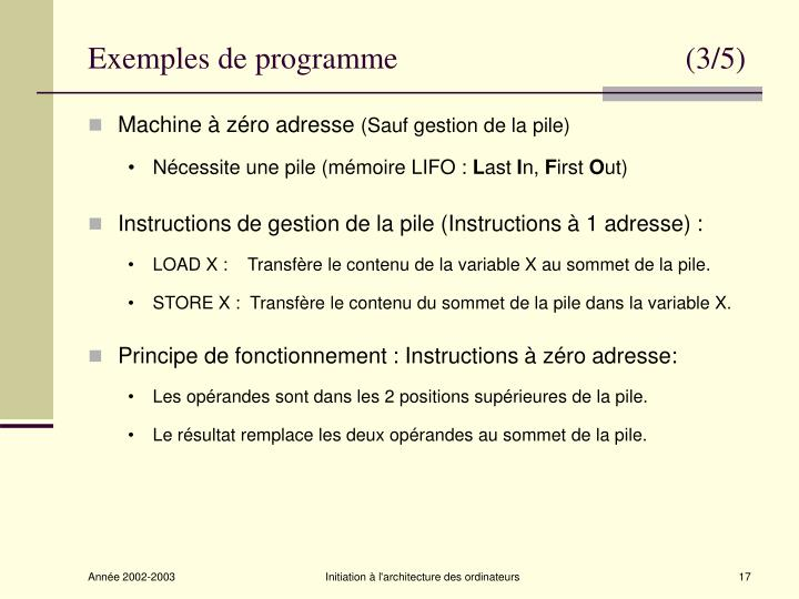 Exemples de programme                                     (3/5)