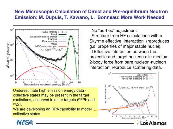 New Microscopic Calculation of Direct and Pre-equilibrium Neutron Emission: M. Dupuis, T. Kawano, L.  Bonneau: More Work Needed