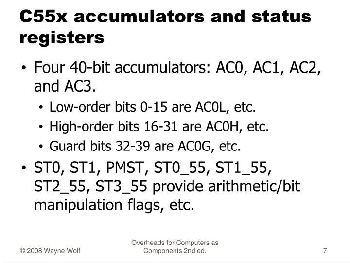 C55x accumulators and status registers