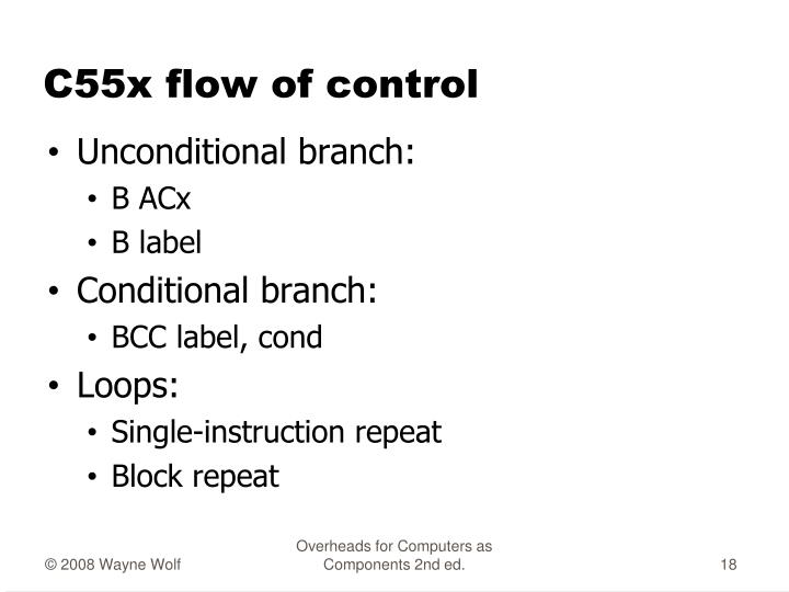 C55x flow of control