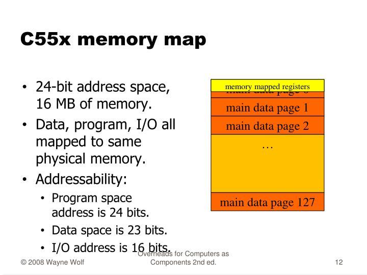 C55x memory map