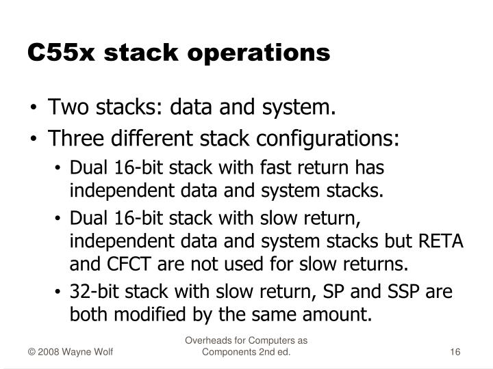 C55x stack operations