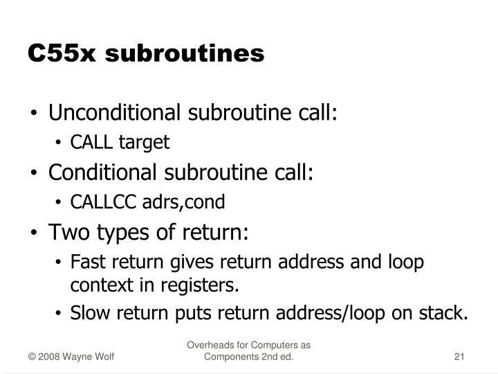 C55x subroutines