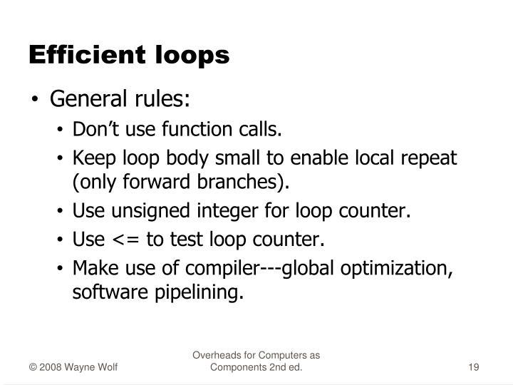 Efficient loops
