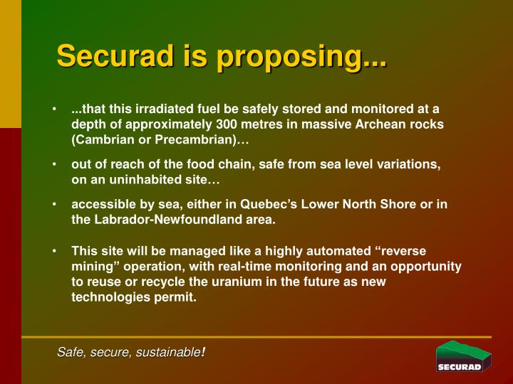 Securad is proposing...