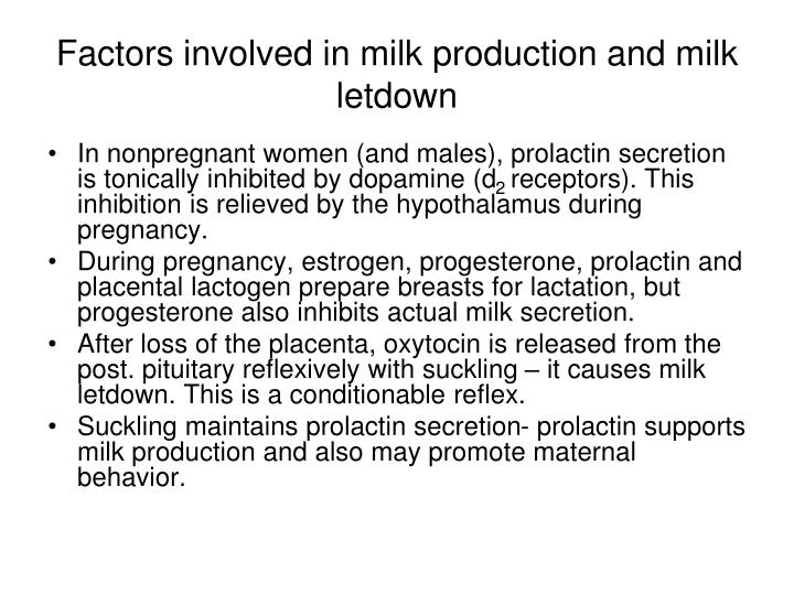 Factors involved in milk production and milk letdown