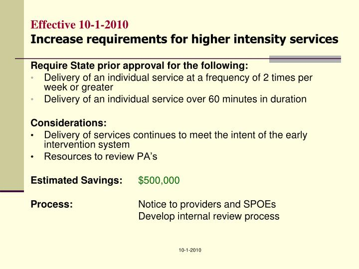 Effective 10 1 2010 increase requirements for higher intensity services