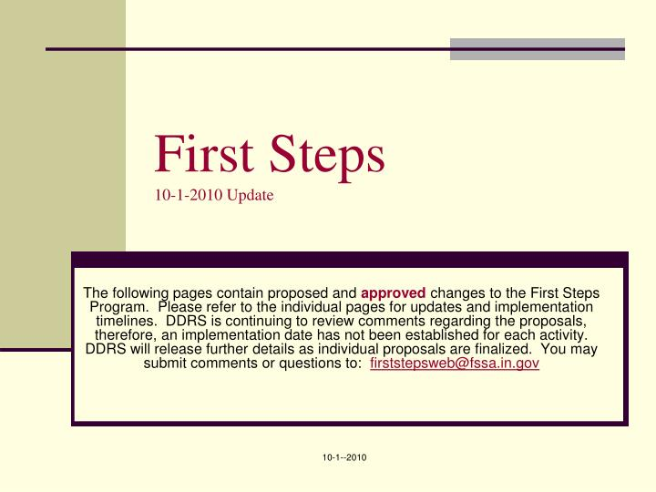 First steps 10 1 2010 update