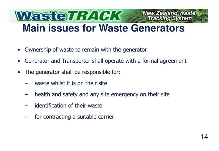 Main issues for Waste Generators