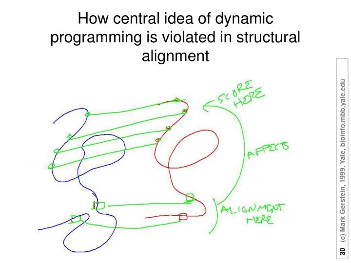 How central idea of dynamic programming is violated in structural alignment