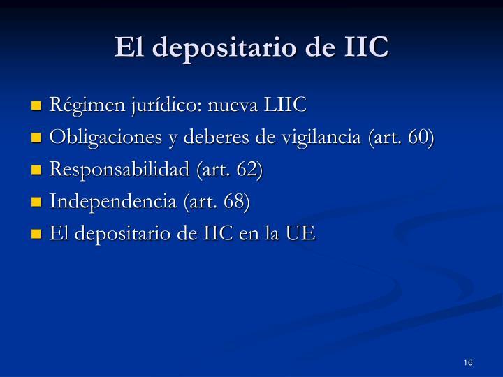 El depositario de IIC