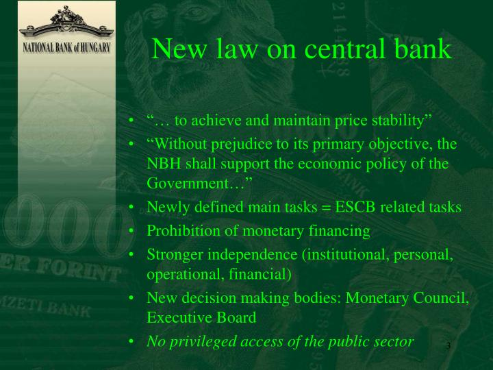 New law on central bank