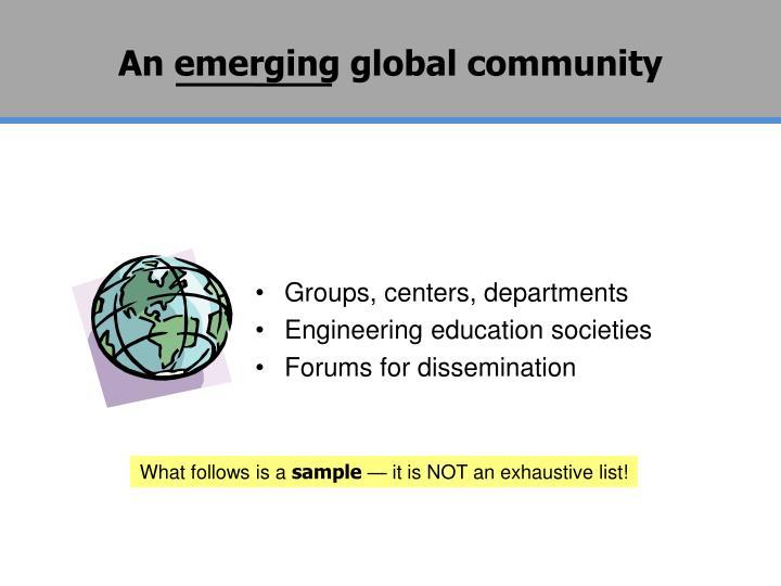 An emerging global community