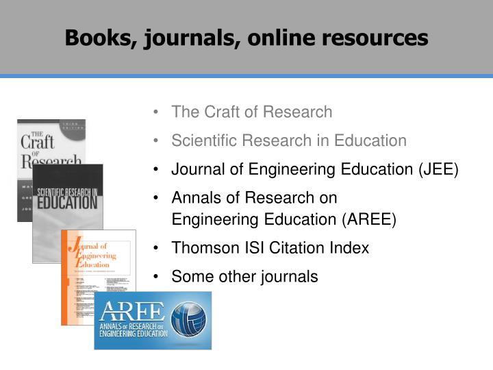 Books, journals, online resources