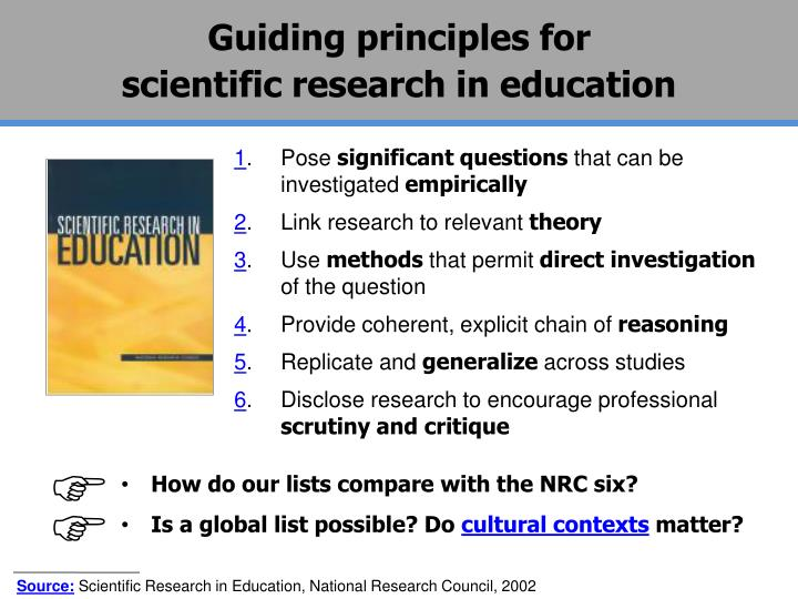 Guiding principles for                                       scientific research in education