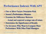 performance indexes with apt