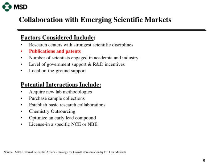 Collaboration with Emerging Scientific Markets