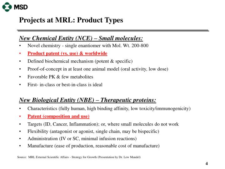 Projects at MRL: Product Types